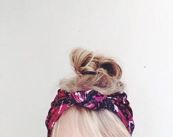 Knotted Top Headband - Knit Fabric Headband - Stretchy headband - yoga - Floral headband - headwrap