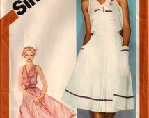 Vintage 80's Pullover Dress Pattern Simplicity 9999 Full Skirt Elastic Waist Sleeveless Optional Sailor Collar Summer Dress Size 14 Bust 36