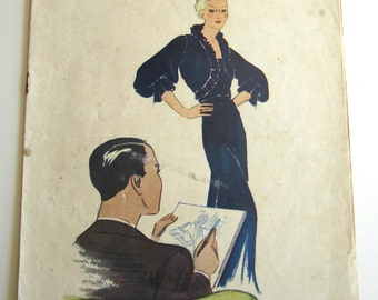1920's Vintage French Magazine Mode Pratique January, 1935 Flapper Fashion and Sewing