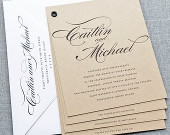 Caitlin Kraft Booklet Wedding Invitation Sample - Black Calligraphy Script Font, Rustic Wedding Invitation