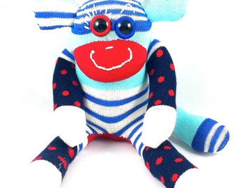 Mini Sock Monkey LYLE : stripe, blue, orange, navy, red, colorful, handmade plush sock toy softie.