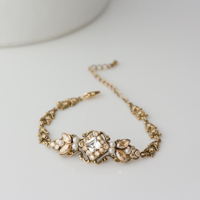 Wedding Bracelet Antique Gold Bridal Bracelet Swarovski Golden