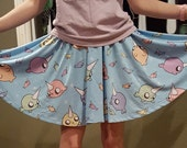 Narwhal Skater Skirt - Cute Creations Rainbow Narwhals Pattern Blue Skirt - One Size Fits Most Skater Skirt