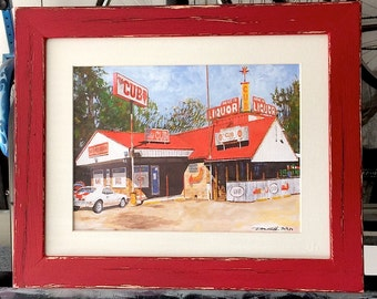 """Shreveport Bar and Grill Art """"Cub Lounge"""" Red Distressed Framed/Matted Prints (Four Sizes) Signed and Numbered"""