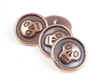 Day of the Dead Buttons Antique Copper Button Clasp Findings TierraCast SKULLY BUTTON Findings Skull Button Dia de los Muertos (PF803)