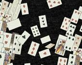 Alice in Wonderland Cards Black Windham Fabric 1 yard