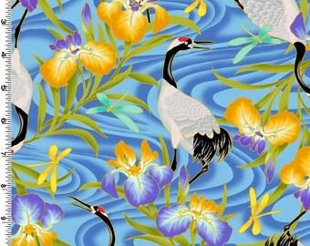 Crane Lotus Blue Kona Bay Fabric 1 yard