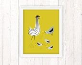 Retro Kitchen, Chicken Art Print, Kids Room Decor, Chicken Decor