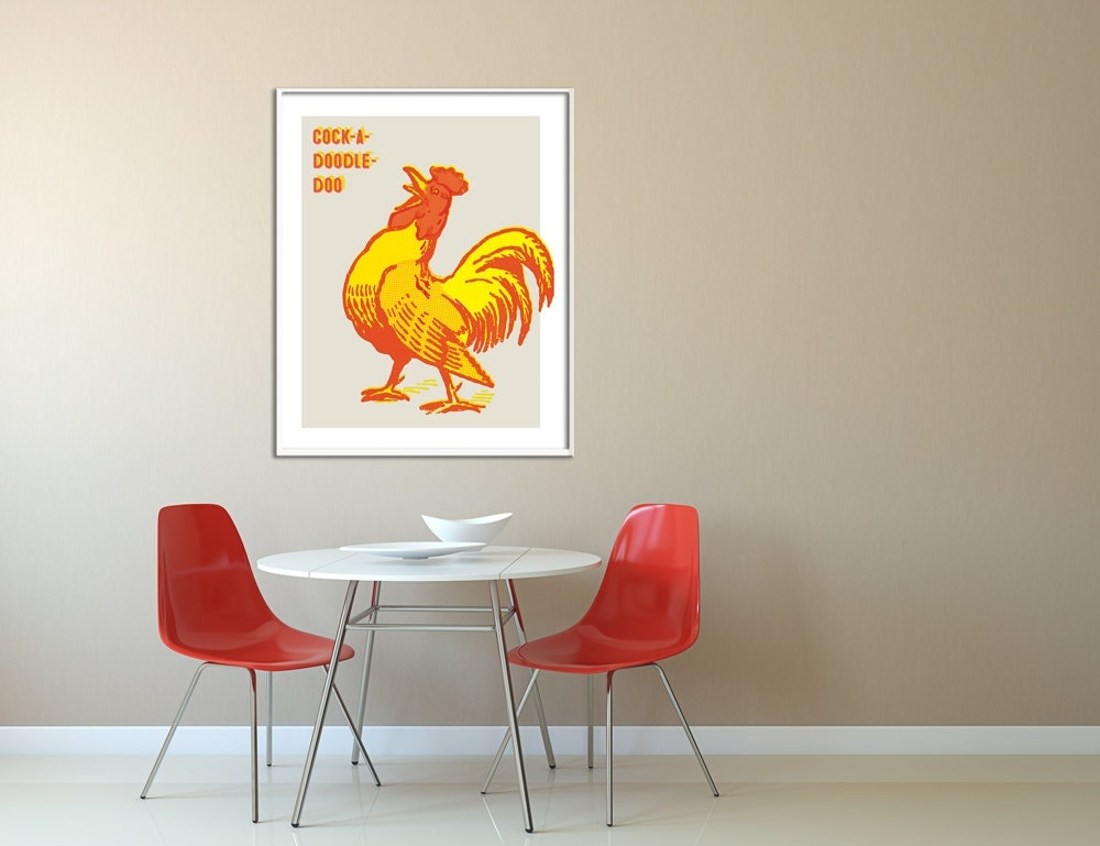 Large Vintage Wall Decor : Extra large wall art vintage rooster retro kitchen
