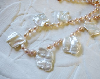 Huge Keshi Petal Pearl Necklace Hand Knotted White Pink Statement Rose Gold Lightweight Organic Elegant All Nacre 18 in to 21 in Adjustable