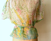 Leslie Fay Blouse / Floral Chiffon Blouse / Sheer Floral Blouse