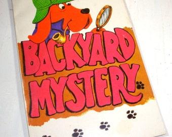 Backyard Mystery, Vintage  Children's Book, Troll, John Howard, Dog Named Gumdrop, Child's Story, Orange and Black Graphics, 1972  (658-15)