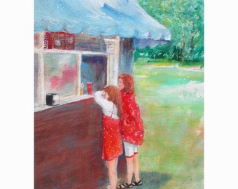 Original Watercolor * LUNCH At The PARK * by Rodriguez