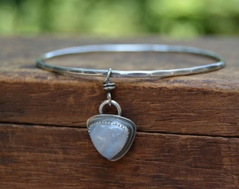 Moonstone Bangle Bracelet. Hammered Sterling Silver Bangle. Gemstone Stack Bracelet. Gypsy Jewelry.
