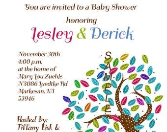 Baby Shower Invitation Polka Dot Trees