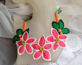 Free form crochet necklace Fantasy garden flowers