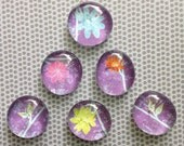 6 Round Glass Magnets - Purple Blue Pink Orange Yellow Green Glitter Flowers - Kitchen - Home - Office - Favors - Command Center