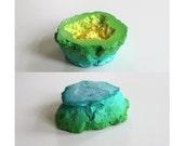 Magical Gradient Geode Art Sculpture - Yellow, Green, Blue