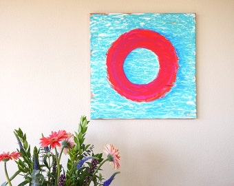 "Fluorescent Pink & Blue Swimming Pool Art, Beach House Decor Acrylic Painting on Canvas Bright Beach Inspired Neon Pink Summer Decor 20""x20"""