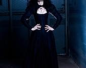 Goth Corset Gown - Black Dragon Wedding Dress- Victorian Corset Jacket-  Alternative Bridal Gown Halloween- Custom to Order