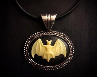 Bat Cameo Necklace // Bat Jewelry // Bat Pendant