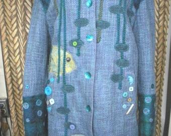 NIZA High Tide plus size 18W tall blue boucle coat with fish, shells, crochet shoulder epaulettes by BearlyArtDesigns