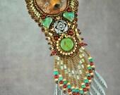 Bead embroidery, necklace, beaded, bear, polymer clay, carnelian and Czech glass