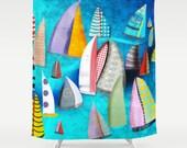 Shower Curtain - Regatta Segelbilder Marinemalerei