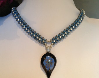 Country Blues Beaded Necklace Set  / Free Shipping to Canada & USA