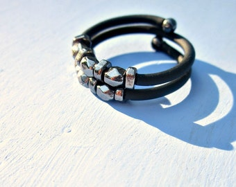 Gunmetal Beaded Adjustable Large Memory Wire Wrap Ring with Comfort Band: Stonehenge