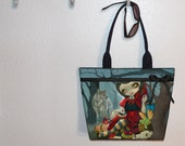 Red Riding Hood's Picnic tote bag, book tote, large purse, canvas tote, shoulder bag Jasmine Becket-Griffith Red Riding Hood bag
