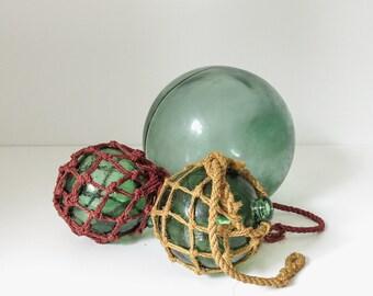 30% OFF | set of three vintage glass fishing floats | beach decor