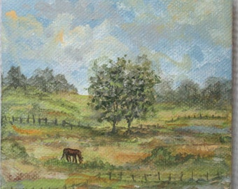 The Peaceful Grazing Horse/Tiny Mini Original Painting