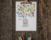 Flying balloon sloths A4 print - sloth couple in love illustration