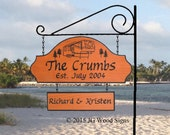 Custom RV Camp Sign with Location Addon - Family Name Sign - Includes Round Garden Holder