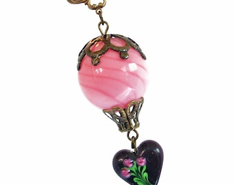 Hot Air Balloon Pendant Necklace Jewelry Jewellery - Pink Chocolate