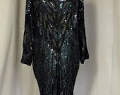 Amazing silk and sequin vintage 80's or 90's feather themed dress made in India size 8 to 12