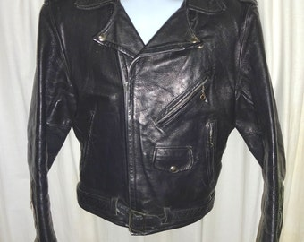 Classic Vintage 1950's Steerhide Rockabilly Leather Jacket S/38""