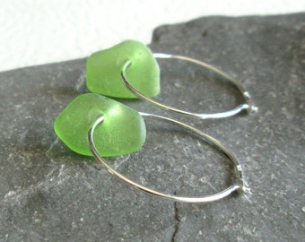 Lime Green Sea Glass Earrings, Sterling Silver Hoops, Tropical Jewelry