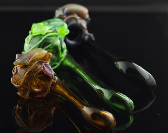 Squid Large Sherlock / Glass Smoking Bowl / Smoking Pipe / Handmade Pipe / Glass Pipe / Pyrex Pipe / You Choose the Color / Made to Order
