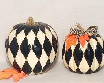 Painted Pumpkin//Fall Front Door //Autumn Centerpiece//Harlequin Painted Pumpkin