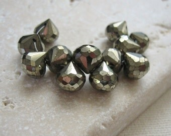 Pyrite Gemstone Faceted Onion Briolette Beads 6.5mm - 12 Beads