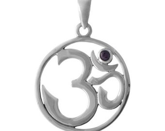 Amethyst and Sterling Silver Ohm Pendant Yoga Jewelry -- Complimentary Ribbon or Cord