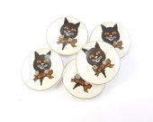 """5 Vintage Image Black Cat Halloween  Buttons.  5 Handmade Buttons.  3/4"""" or 20 mm  Sewing Buttons."""