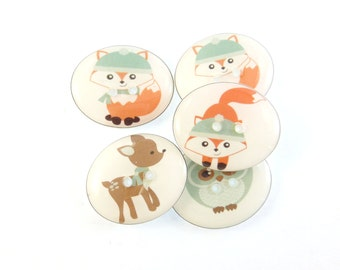 "5 Winter Forest Animal  or  Woodland Animal Handmade Buttons . Christmas Buttons. Sewing Buttons.  3/4"" or 20 mm. Fox, Owl and Deer."