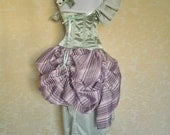 Purple Green Candy Stripe Tabitha Mini Length Tie Bustle Skirt-One Size Fits All