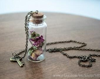 Bottled treasure - MINIATURE ROSES - Natural history specimen pendant necklace