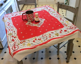 Vintage Tablecloth Musical Notes & Cherries