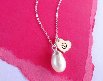 Custom Birthstone & Initial Necklace, PERSONALIZED BIRTHSTONE NECKLACE, gold pearl necklace, Bridesmaid Gifts, bridesmaid jewelry