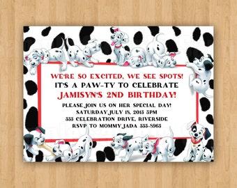 101 Dalmatians Birthday Party Personalized Invitation .JPEG File